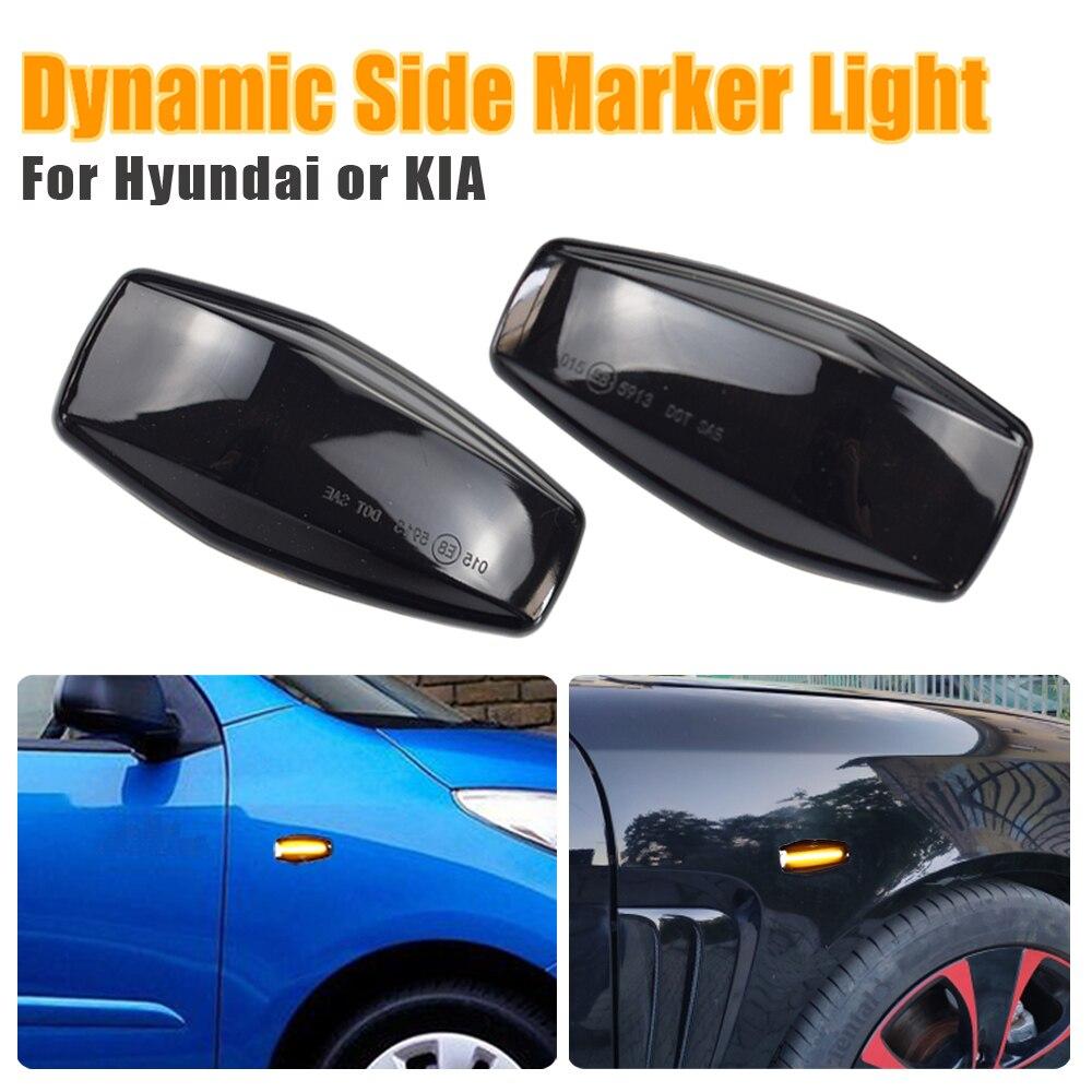 Luz LED intermitente dinámica, marcador de guardabarros lateral, intermitente secuencial para Hyundai Elantra Getz Sonata XG Terracan Tucson Kia