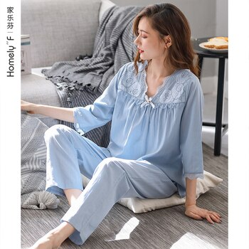 Tencel Cotton Pajamas Women's Summer Ice Silk 3/4 Sleeve Home Wear Spring and Autumn Middle-Aged Mother Thin Modal