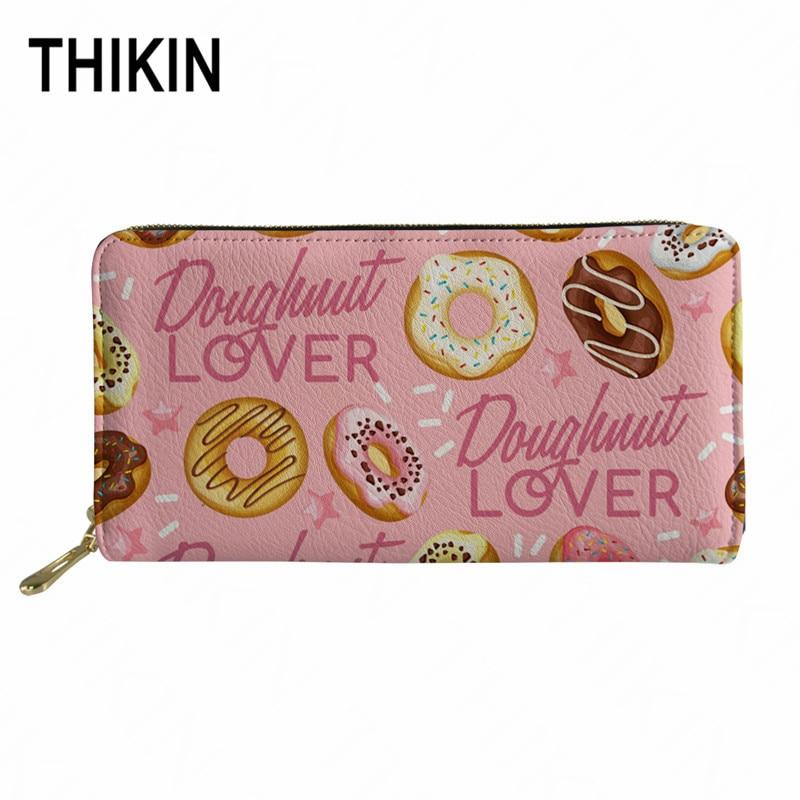THIKIN Doughnut Lover bolso monedero de cuero de PU de moda para mujer bolso largo de viaje con cremallera de dibujos animados Rosa Cartera de gran capacidad