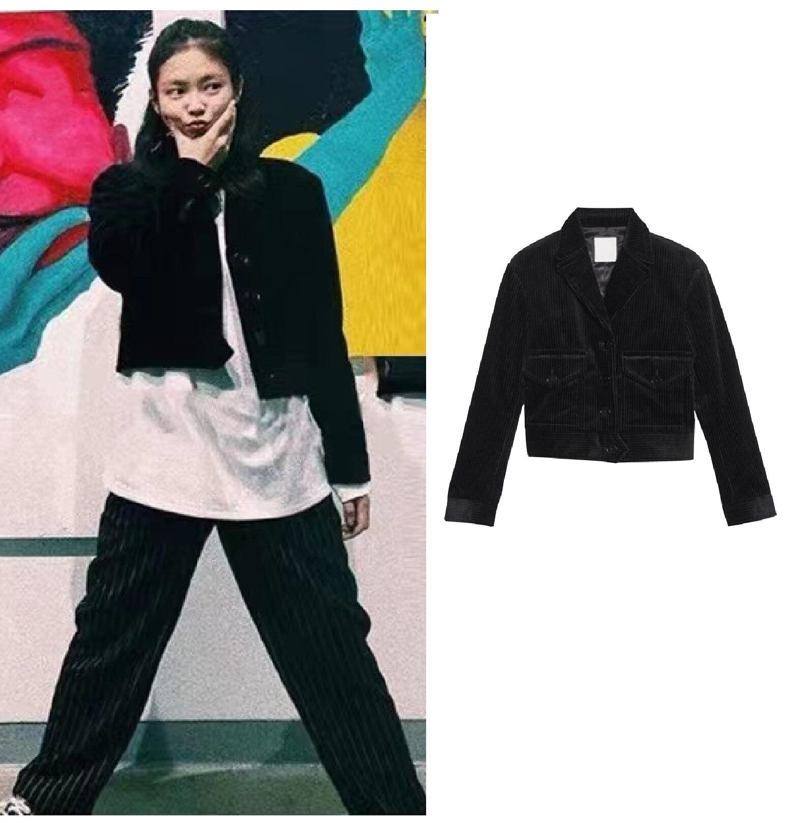 معطف قصير كبير الحجم للنساء من Kpop IU Seo Yea Ji جاكيت كودري نسائي كوري غير رسمي للنساء