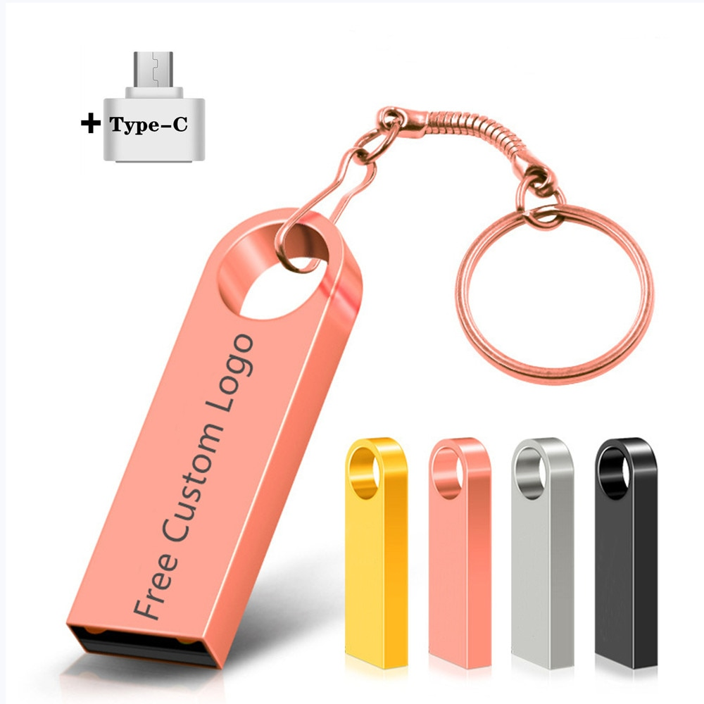 Pen Drive Waterproof Metal Type-C Usb Flash Drive 256GB 128GB Flash Disk Cle Usb Stick 4/8/16/32G 64G Pendrive Flash Memory Card