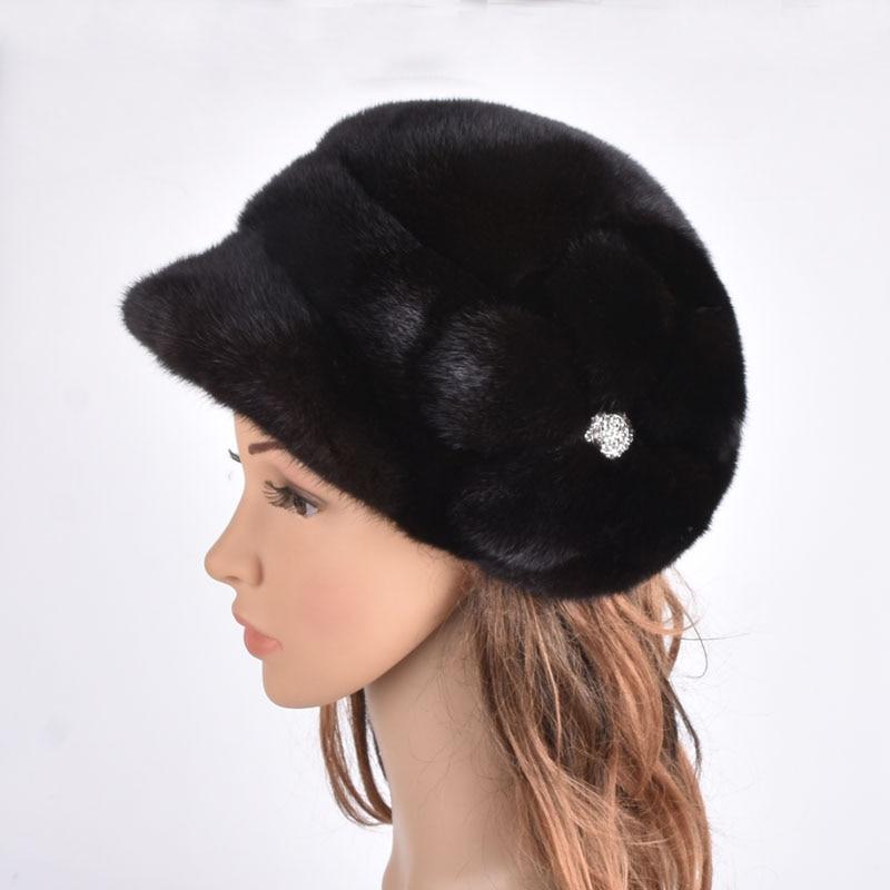 Echtes Ganze Nerz Hüte Frauen Mode Pelz Mützen Luxus Pelz Caps Mit Blumen für Russische Winter Pelz Hut PYCCKNN MEX