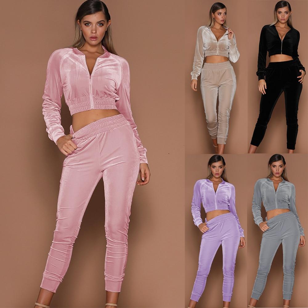 Sets Women Fashion Autumn Navel Sexy Short Blouse Sheath Zipper Solid Long Sleeve Elastic Waist Long Pants Mujer De Moda Suits