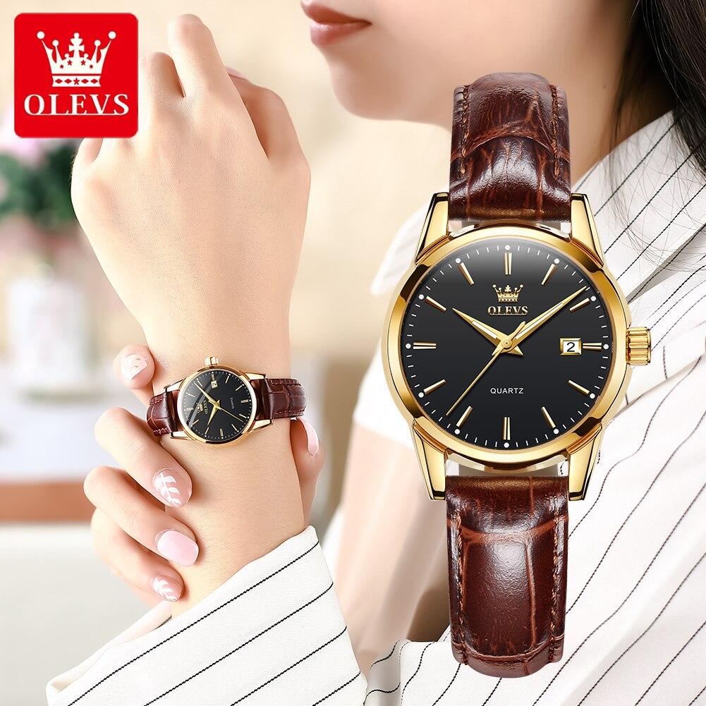 OLEVS Luxury Brand Women's Watches Waterproof Leather Quartz Wrist Watch Casual Dress Ladies Watch R