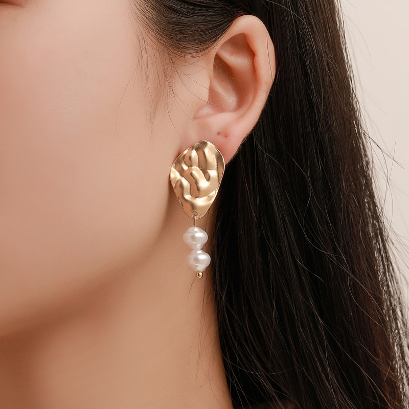 Korean version of the new product Akin ear Creativity double pl rings fashion fold pendant tidal jewelry
