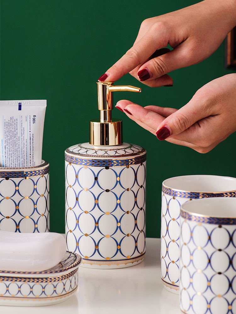 Nordic simple Circle and dot Bathroom set Ceramic Five-piece set Bathroom suit Bathroom Accessory enlarge