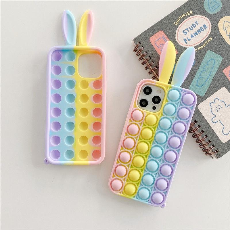 Fashion pop decompression Rabbit Ear Bubble Phone Case For iPhone 12 Pro Max 11 Pro XR XS 8 X 7 6S 6