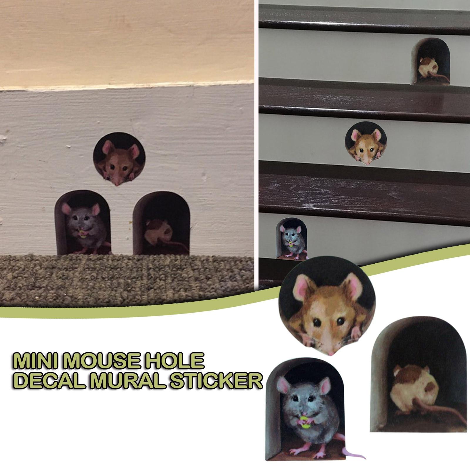 Pegatinas de pared para decoración del hogar, calcomanía de agujero con ratón...