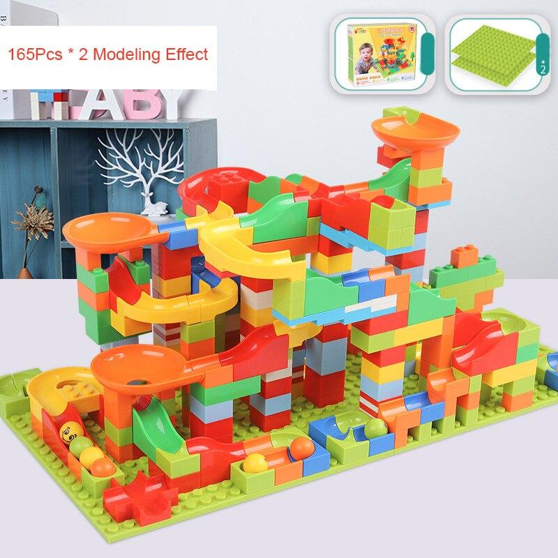 330PCS Track Blocks Marble Race Run Maze Ball Track Building Blocks Set Funnel Slide Bricks Toys for Children Christmas Gift