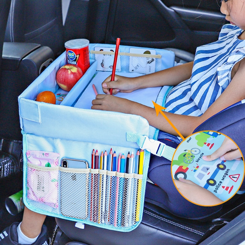 Upgraded Multifunction Autos Baby Seat Tray Waterproof Table Car Seat Tray Storage Kids Toys Infant Holder Cartoon Baby Fence