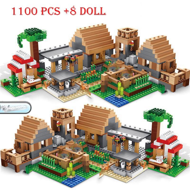 1500 + szt. Mine Farm Mountain Cave Waterfall Village Jungle TreeHouse mój świat figurki zestaw klocków Model miejski klocki