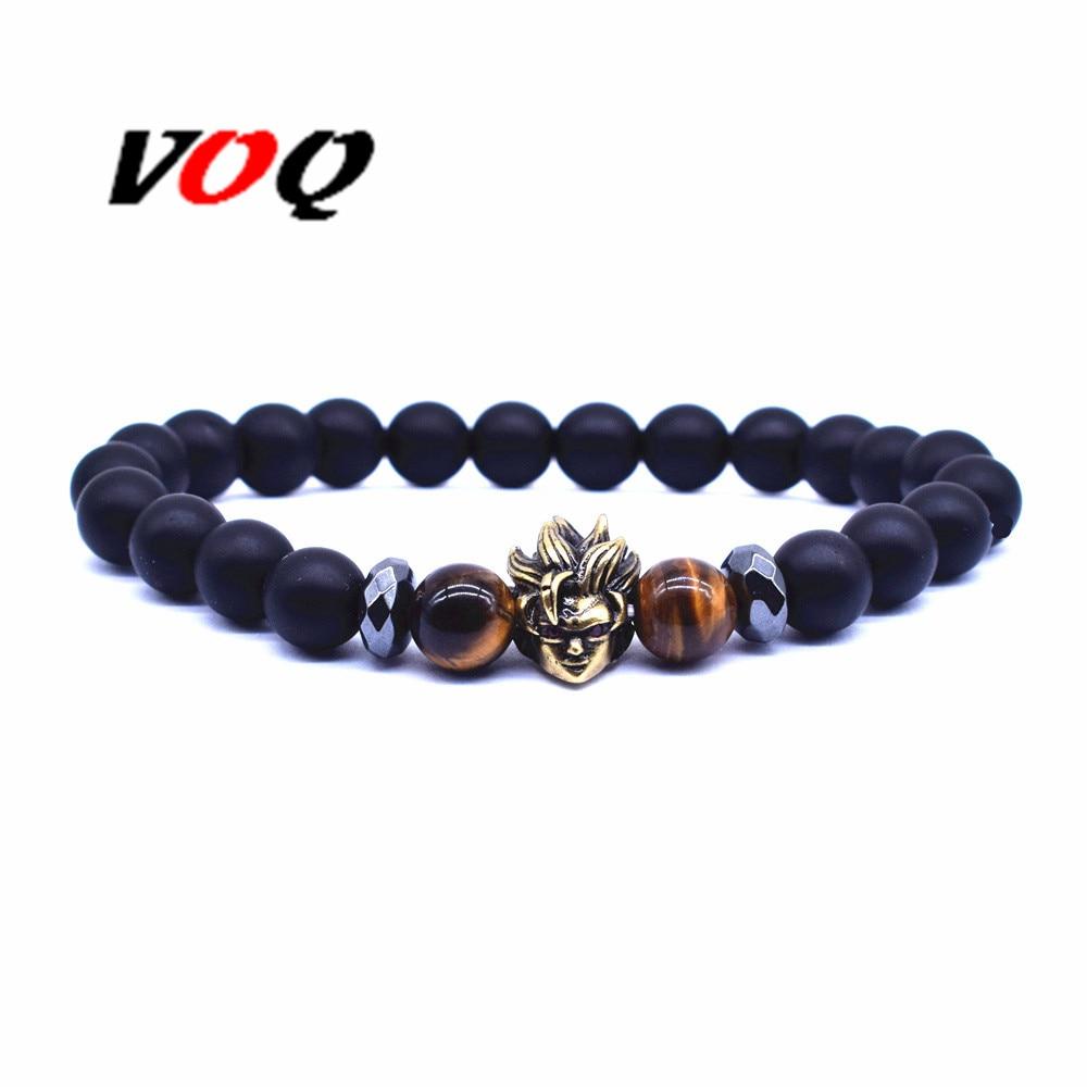 Мужской браслет VOQ, винтажный браслет с бусинами из натурального камня, 8 мм
