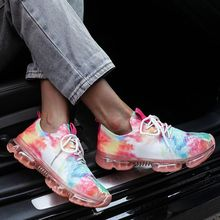 2021 Summer Women's Color Air Cushion Bottom Inner Raised Tide Shoes Mesh Lace Up Breathable Casual