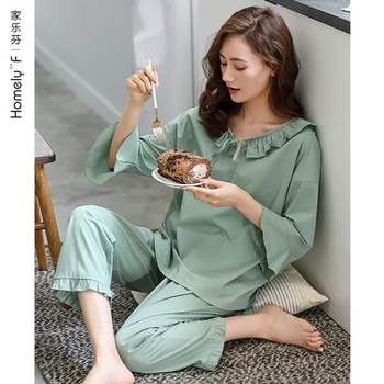Pajamas Women's Spring Summer Pure Cotton 3/4 Sleeve Home Wear Long Sleeve Autumn Spring and Autumn Full Cotton Thin Section