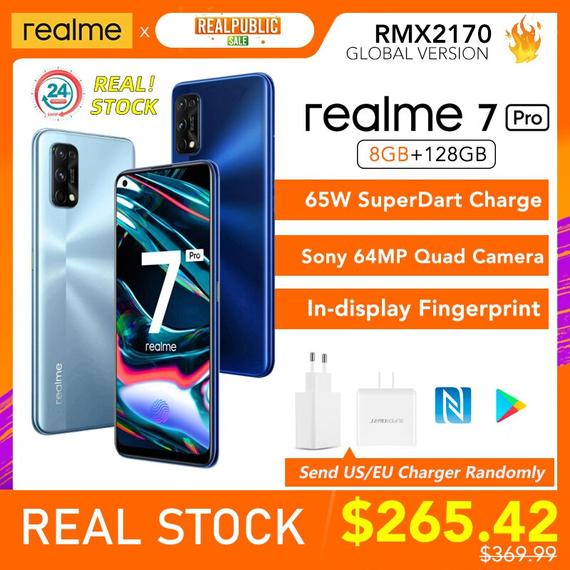realme 7 Pro Global Version 8GB RAM 128GB ROM 65W SuperDart Charge 64MP Quad Camera AMOLED In-display Fingerprint