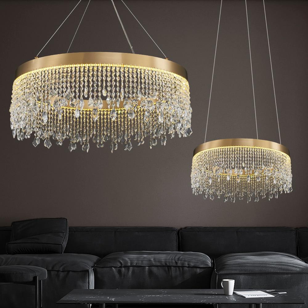ثريا مستديرة/بيضاوية/مستطيلة الشكل لغرفة المعيشة أضواء كريستالية لأضواء المطبخ ثلاث طبقات لإضاءة الدرج