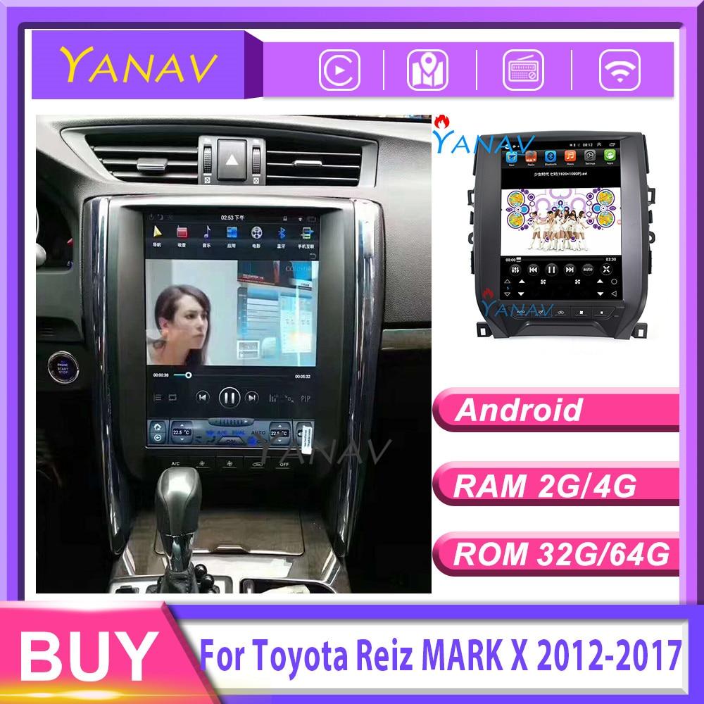 Reproductor de vídeo para coche GPS para coche navegación para Toyota Reiz MARK X 2012-2017 reproductor multimedia para coche 12,1 pulgadas estilo Tesla