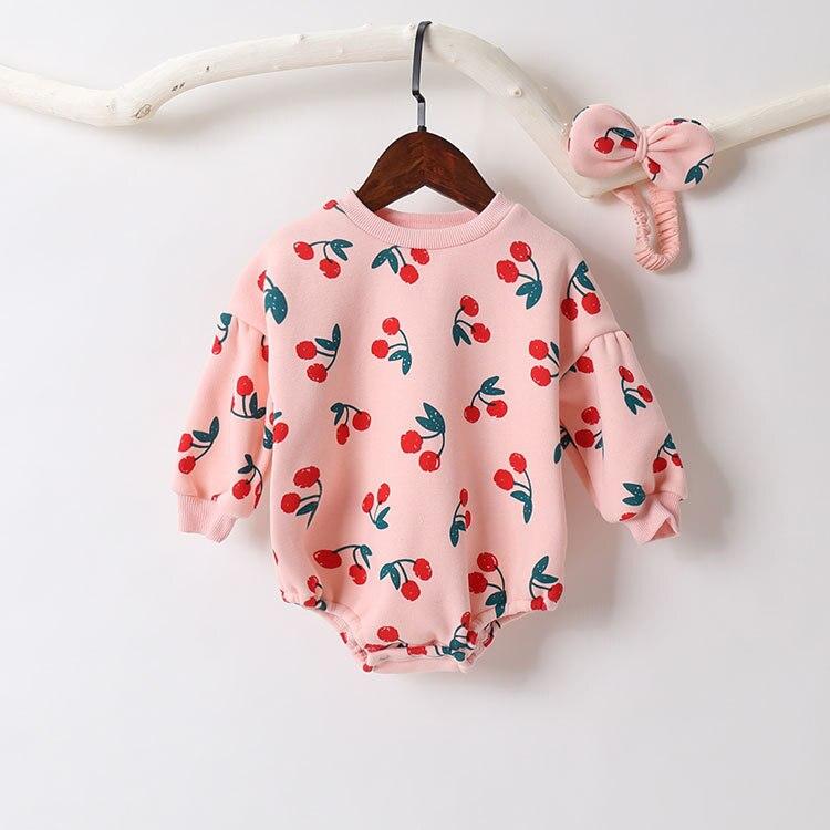 ¡Novedad de 2020! Conjunto de ropa para bebés recién nacidos con cerezas, mono de manga larga y Diadema de 0 a 18m para Otoño e Invierno