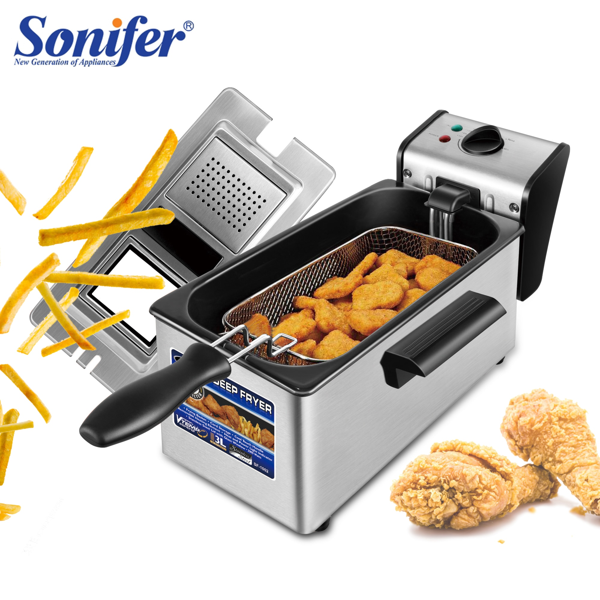 Freidora eléctrica 3L Frie freidora francesa olla caliente pollo frito parrilla termostato ajustable cocina Sonifer