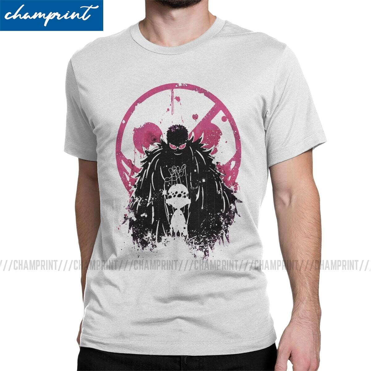 Doflamingo arte Camiseta Hombre Trafalgar ley una pieza Anime Humor de algodón camiseta cuello redondo manga corta T camisa regalo ropa