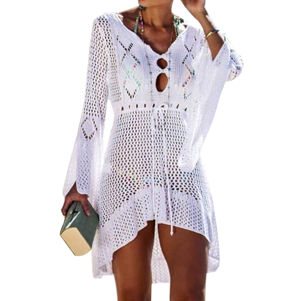 Loozykit 2020 Women Crochet Knitted Cover Up Dress Beach Tunic Long Pareos Bikini Cover  Bathing Suits Beachwears Robe Plage