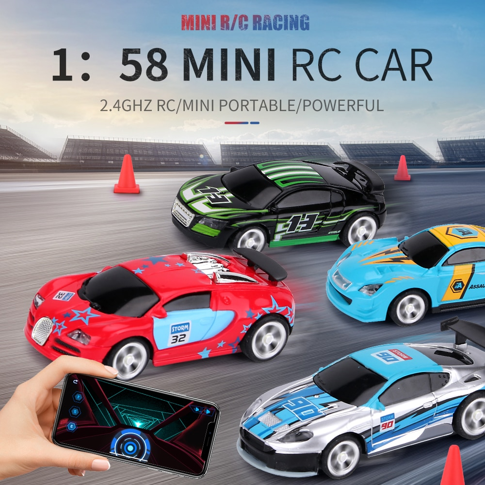 1:58 Remote Control MINI RC Car Battery Operated Racing Car PVC Cans Pack Machine Drift-Buggy Bluetooth radio Controlled Toy Kid enlarge