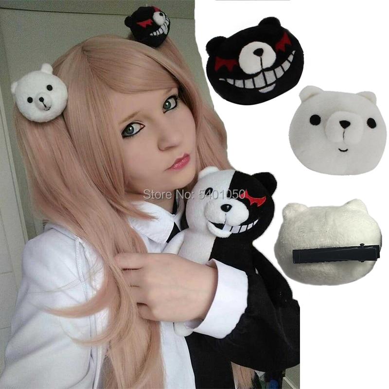 New 1 Pair Dangan Ronpa Danganronpa Hair Clip Junko Enoshima Mono Kuma Mono White Black Bear Anime Cosplay Headwear Girl Gift