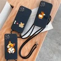 cute cartoon corgi dog ass black pattern phone case for iphone 7 8 11 12 x xs xr mini pro max plus strap cord chain lanyard soft