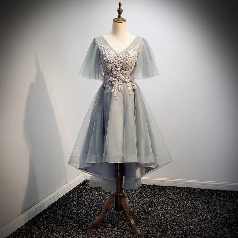 فستان حفلات نسائي من التل عالي/منخفض برقبة على شكل v مطرز بنصف كم بطول الشاي متوفر بمقاسات كبيرة R1325
