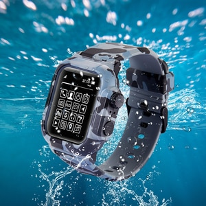 Suitable for Apple Watch Series6 / SE Apple Watch 5 4 3 44/42/40/38mm sports waterproof strap diving silicone strap case
