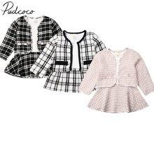Pudcoco-ensemble de 2 pièces 6M-5T   Manteau à carreaux pour petites filles, tenue de fête, vêtements à la mode, printemps-automne