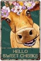 Citation drole de salle de bain en metal  signe en etain  decor mural Vintage Hello Sweet Cheeks vache avec fleurs  signe en etain