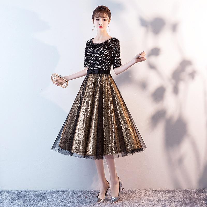 Prom Dress Black Gold Sequins Half Sleeve O-neck Women Party Dress Night Tea-length A-line Plus Size Vestidos De Gala