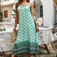 bohemian spaghetti strap dress loose floral print v neck fashion dresses 2021 summer casual holiday elegant vintage women dress