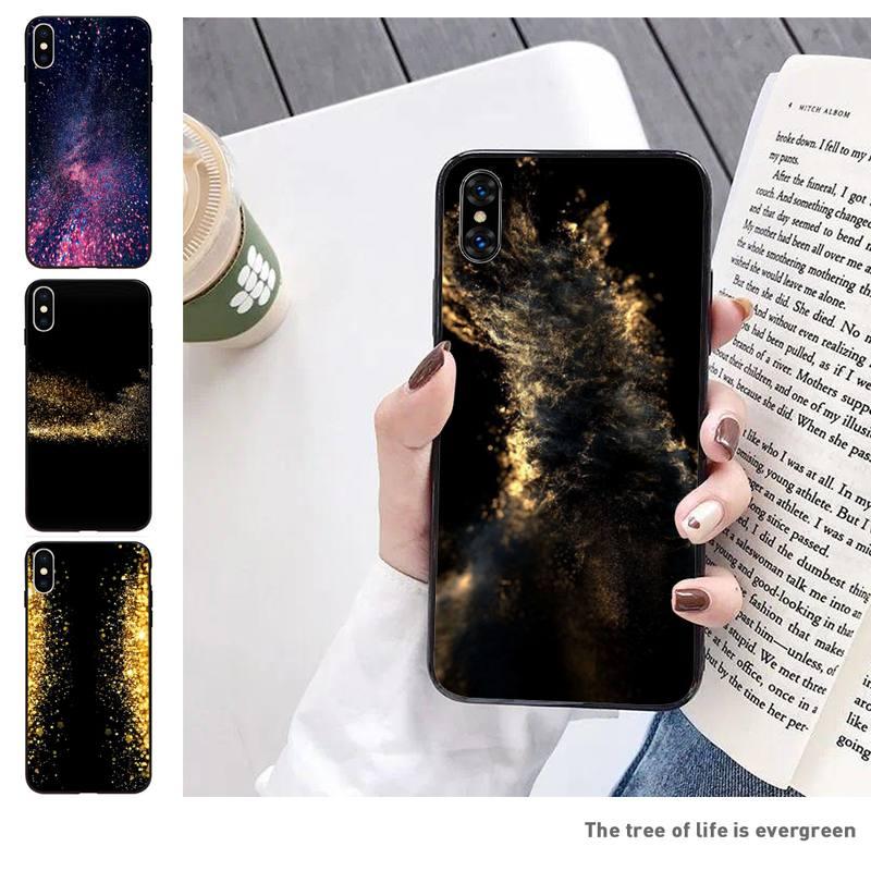 Bonita funda de teléfono dorada para Iphone 11 Pro 5 6 7 8 11 Pro Max Xr Xs, funda protectora negra blanda