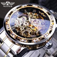 Часы наручные Winner Мужские механические, прозрачные модные светящиеся брендовые роскошные часы-скелетоны в Королевском дизайне, со стразам...