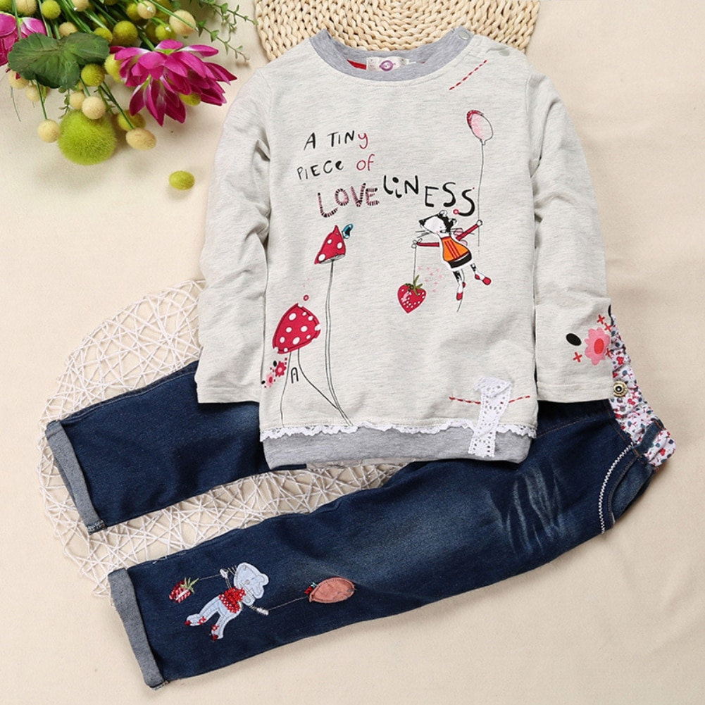 Baywell Autumn Spring Children Baby Girl Clothes Set Girls Lace Ruffled Cartoon Pattern Sweatshirt+D