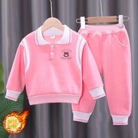 warm winter newborn baby boys girls velvet clothing set kids jacket coat pants suit infant tracksuits toddler children clothes