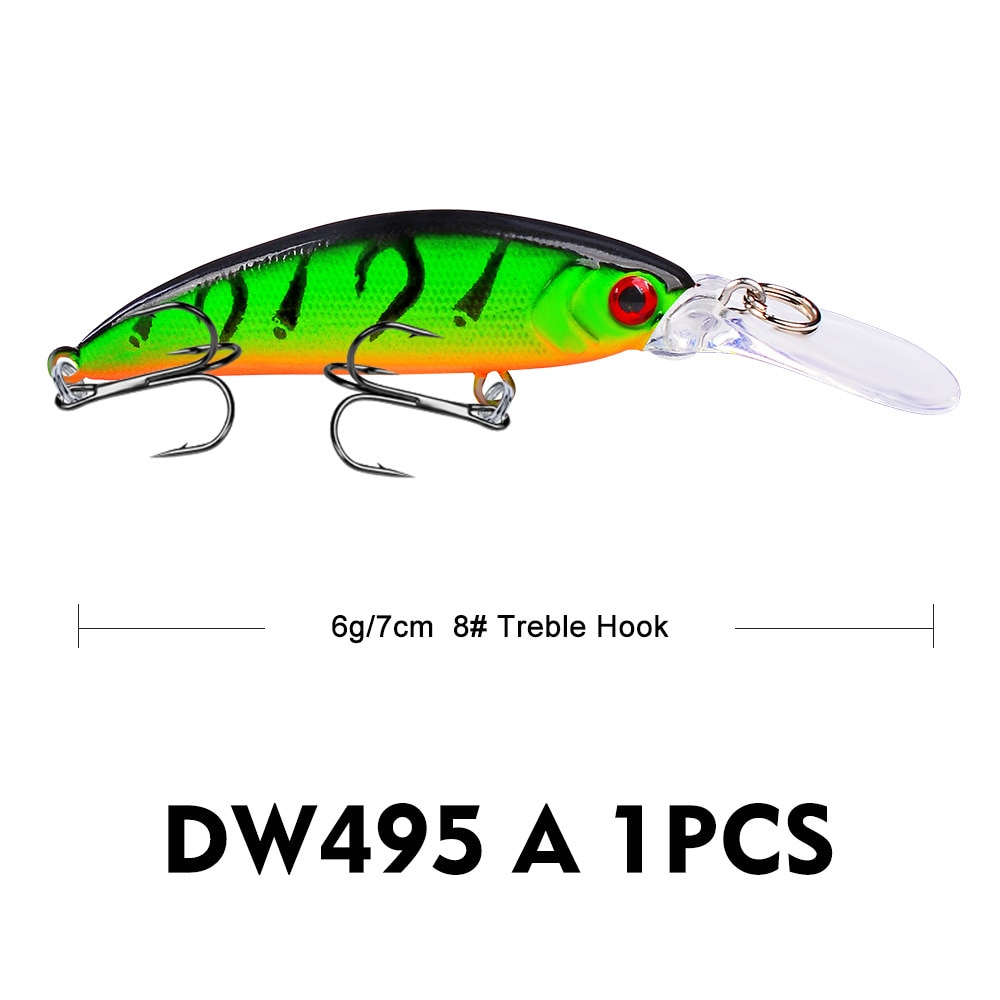 Hot 9Pcs Minnow Fishing Lure 6g 7cm Vibrate Sinking Hard Fishing Wobblers For Seabass Perch Carp Pike Trout enlarge