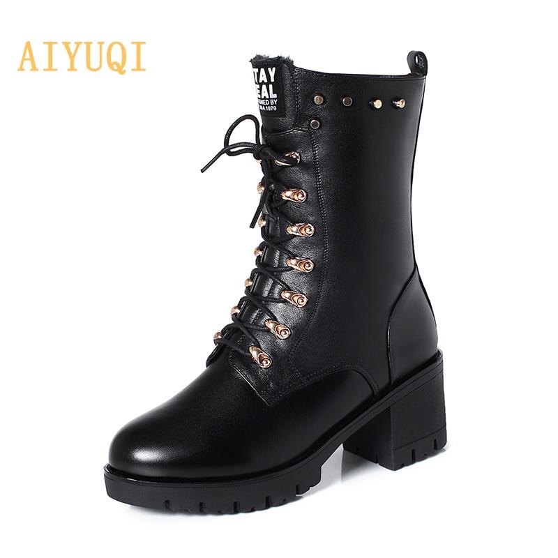 AIYUQI النساء أحذية الشتاء منتصف العجل الأحذية رصع النساء مارتن الأحذية جلد طبيعي حجم كبير 43 الصوف الدافئة دراجة نارية الأحذية