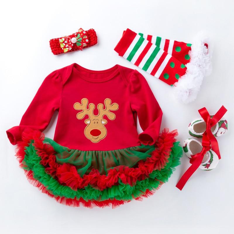 Christmas Baby Dress Suit Cute Elk Newborn Romper Tutu Dress First Christmas Baby Clothing Girls Sui