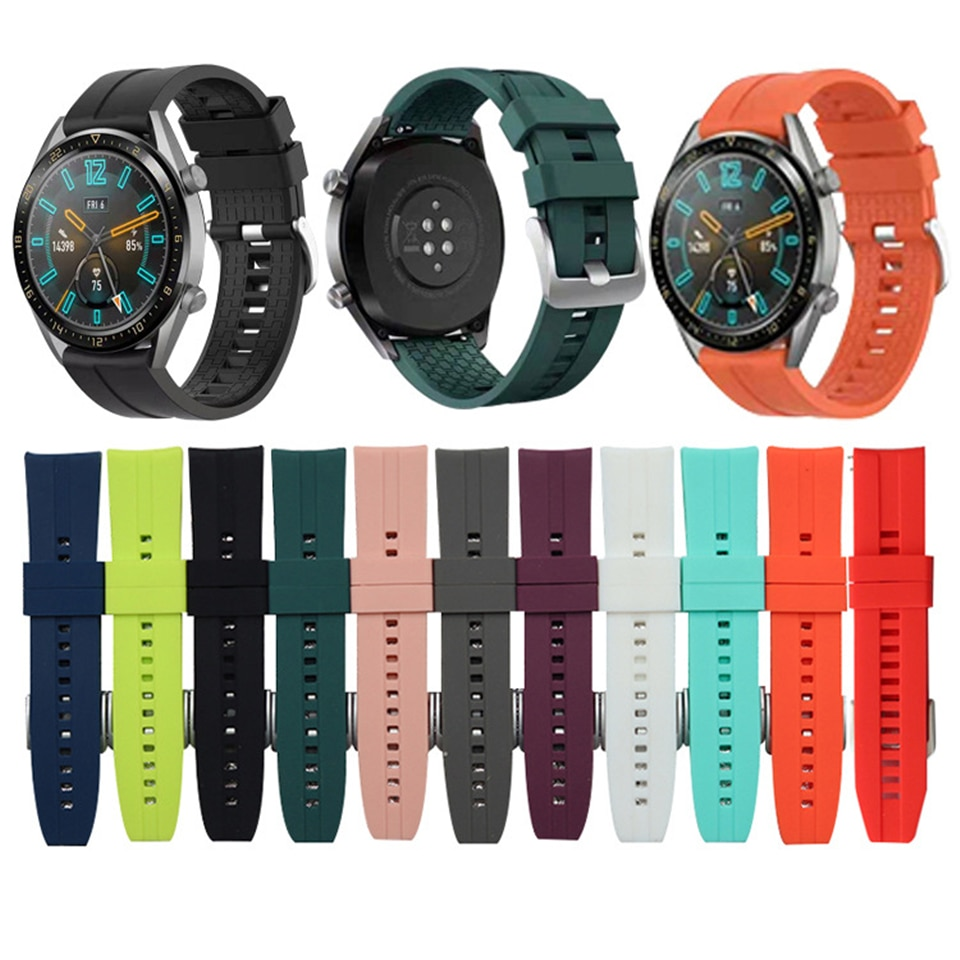 22mm bracelet strap for xiaomi huami amazfit pace stratos 2 gtr 47mm band for samsung gear s3 pulsera for huawei 2 pro gt correa 22mm Sport Silicone Band for Huawei Watch GT GT 2 46mm Wrist Strap Bracelet for Samsung Galaxy Watch 46mm Gear S3 Huami GTR 47mm