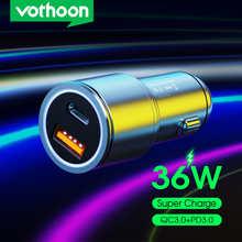 Автомобильное зарядное устройство Vothoon, 36 Вт, USB, быстрая зарядка 4,0, 3,0, USB PD, автомобильное зарядное устройство для телефона для iPhone 12, Samsung, ...