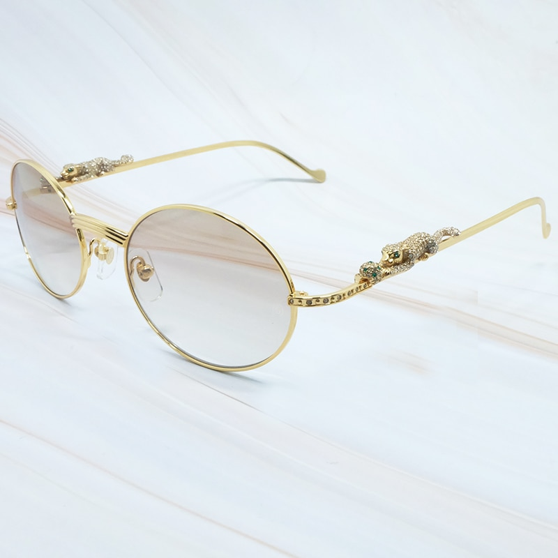 Panther Rhinestones Sunglasses Mens Round Metal Designer Carters Fashion Sun Glasses High Quality Diamond Summer Shades Eyewear