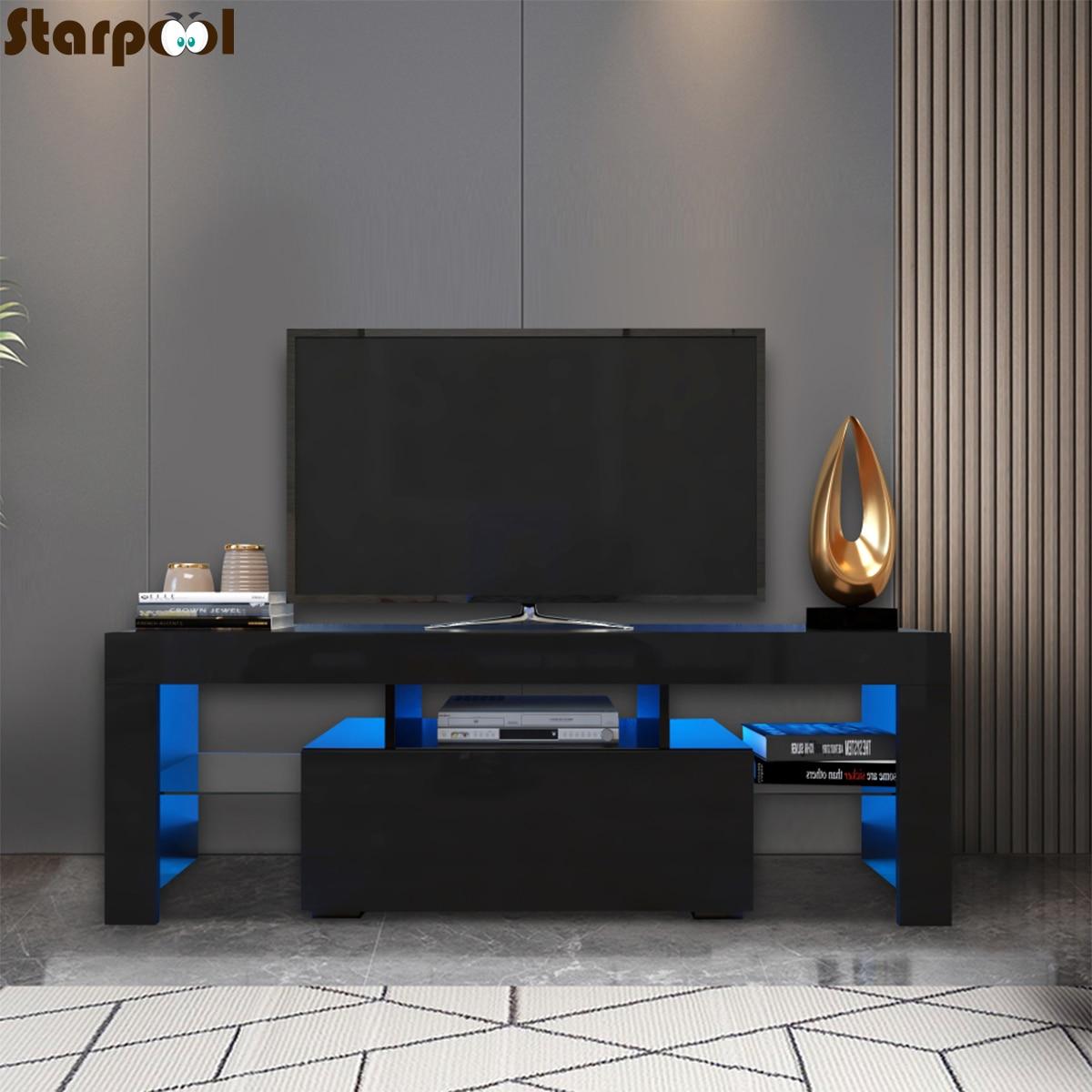 أسود التلفزيون خزانة RGB LED التلفزيون تقف مع درج خزانة التخزين المنظم وحدة تليفزيون قوس أثاث غرفة المعيشة شاشة التلفاز حامل