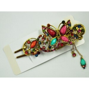 SODIAL(R) Lovely Vintage Crystal Butterfly Hair Pins Hair stick for hair clip Beauty Tools - Colorful