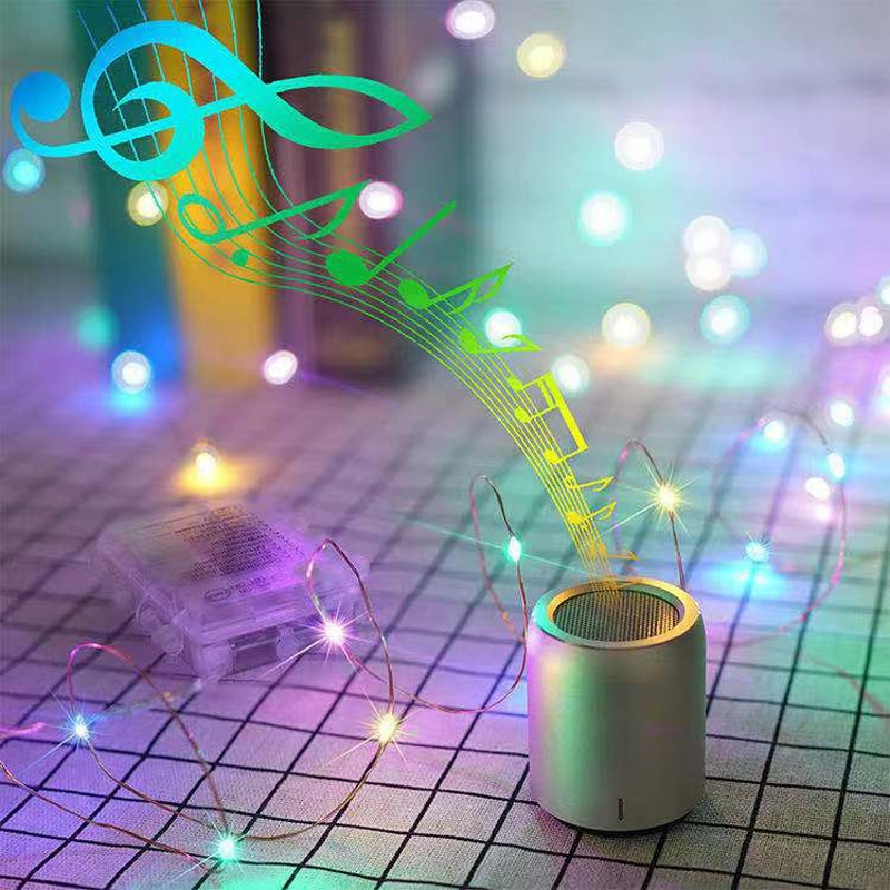 led strip 5m 10m led fairy light string outdoor garland christmas wedding party decoration usb battery operated silver copper Battery/USB Operated Sound Activated LED Music String Lights 5M 10M Silver Wire Garland Home Christmas Wedding Party Decoration
