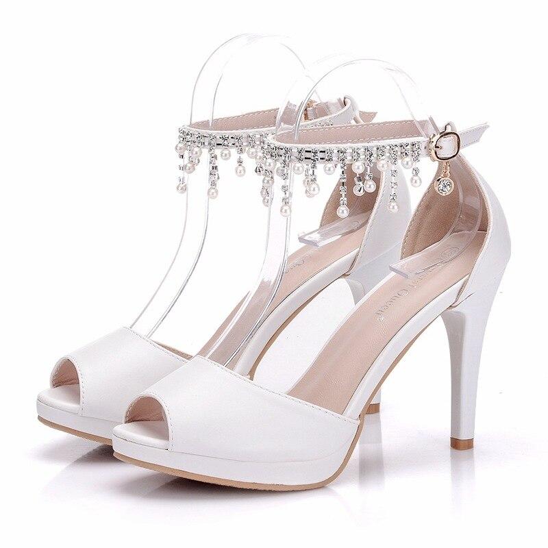 Venda quente sapatos femininos bombas vestido peep toe saltos finos 10cm respirável oco delicado doce sapatos de salto alto