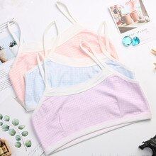 Young Girls Bra Solid Cotton Purbery Student Children Teenagers Fashion Underwear Kids Vest Training
