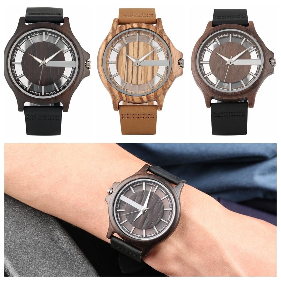 Reloj de madera de ébano, Reloj de madera transparente con esfera hueca para hombre, Reloj de pulsera de cuarzo Vintage, Reloj de madera